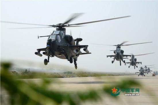 陆航直10武装直升机空中俯视图更显霸气(高清组图)