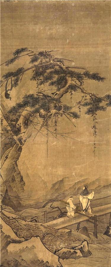 画中苍老的松树上出现两只猴子,一只双臂悬于树枝,作荡秋千状;一只伏