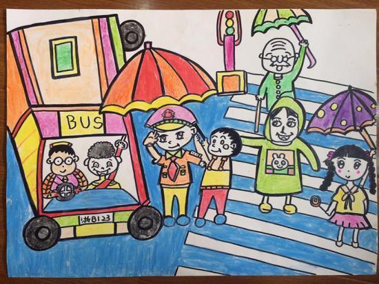 宁波交警首届 文明出行 儿童绘画作品展图片