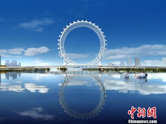 为保证摩天轮能够平衡地坐落在大桥之上,钢结构空间圆环的斜柱,拉索与